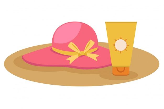 日焼け止めクリーム、帽子