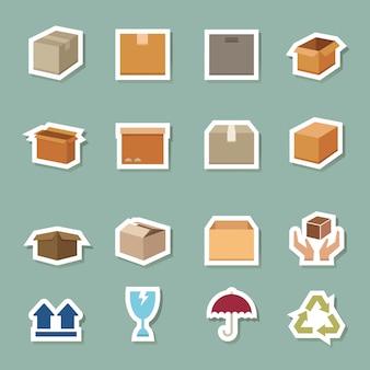 Цветные значки транспортной коробки
