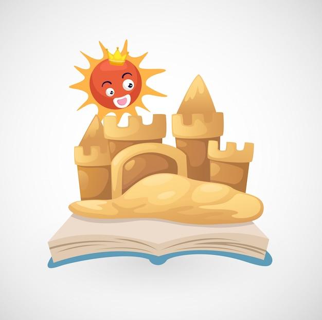 孤立した砂の城のイラスト