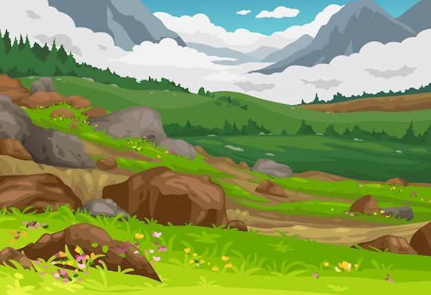 Горы пейзаж фон вектор