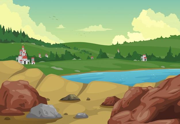 イラスト農村風景の背景ベクトル