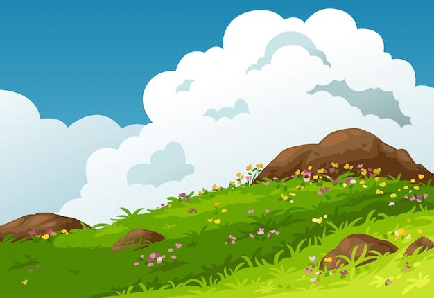 山の風景の背景のベクトル