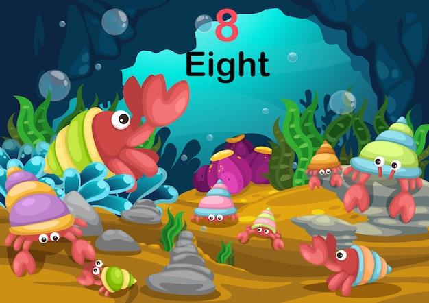 Номер восемь рак-отшельник под морем вектор
