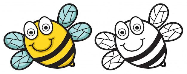 Красочная и черно-белая пчела для раскраски