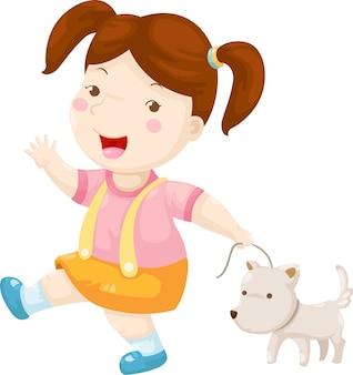 Женщина гуляет с собакой вектор