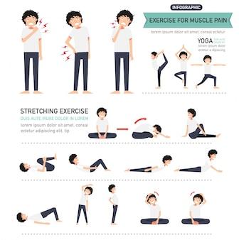 筋肉痛のインフォグラフィックのための運動