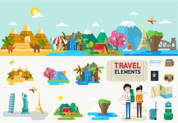 旅行インフォグラフィック要素