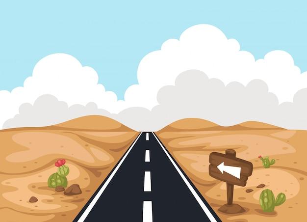 Пустынный пейзаж с дорогой