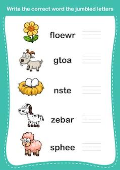 Напишите правильное слово перемешанными буквами