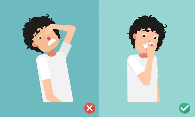 鼻出血に対する応急処置の誤った権利