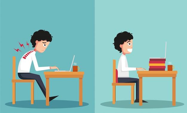 Образец парня, сидящего в неправильном и правильном направлениях