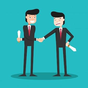 Двуликие парни пожимают друг другу руки в деловом мире