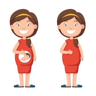 彼女のおなかを保持している妊娠中の女性