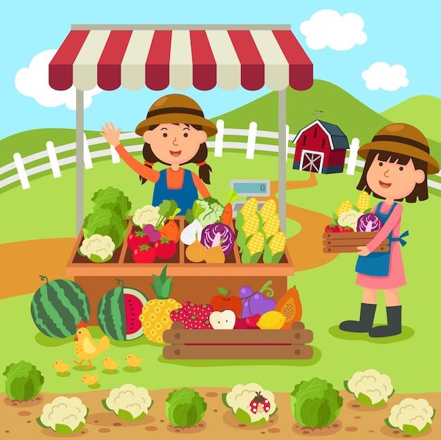 イラスト漫画女性は新鮮な野菜や果物の自家製製品を販売しています