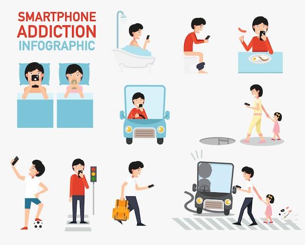 スマートフォン中毒のインフォグラフィック。ベクター