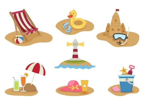 Летний пляж набор векторные иллюстрации