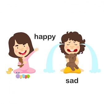 Противоположные счастливые и грустные векторные иллюстрации