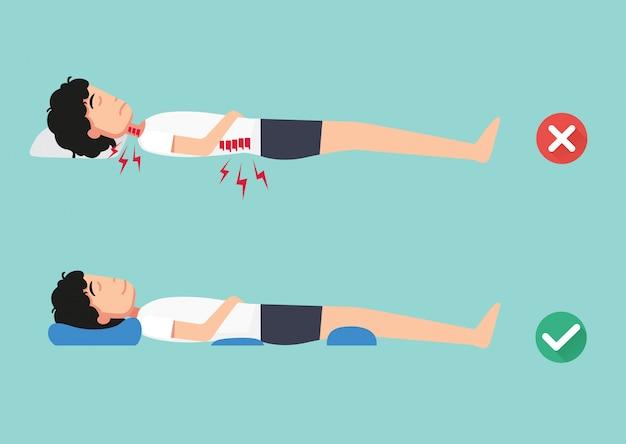 快適な睡眠と健康的な姿勢のための整形外科枕、睡眠のための最高と最悪の位置、イラスト