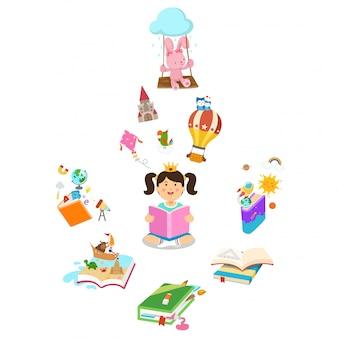 Маленькая девочка читая книгу, иллюстрацию.