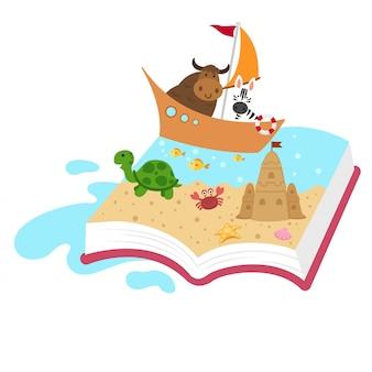 Концепция книги сказки, книга ребенк, иллюстрация.