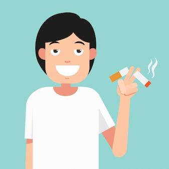 タバコを切る、禁煙の概念