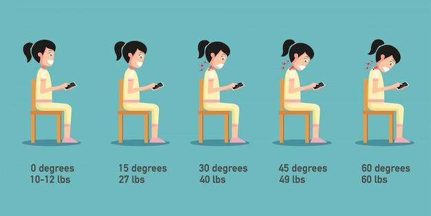 悪いスマートフォンの姿勢、脊椎への圧力に関連する頭を曲げる角度、体の姿勢。イラスト