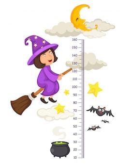 小さな魔女を飛ぶハロウィーンのメーターの壁