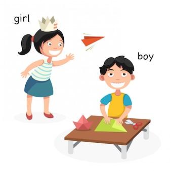 向かい合った男の子、女の子、ベクトル、イラスト
