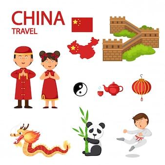 中国旅行のイラストベクター