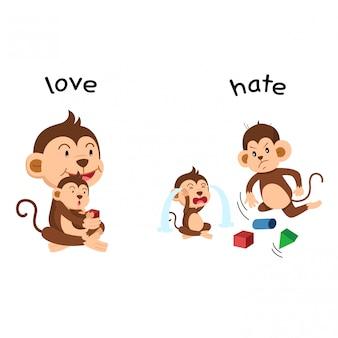 Противоположная иллюстрация любви и ненависти