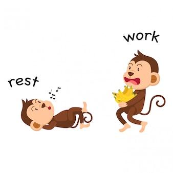 正反対の休憩と作業ベクトルのイラスト