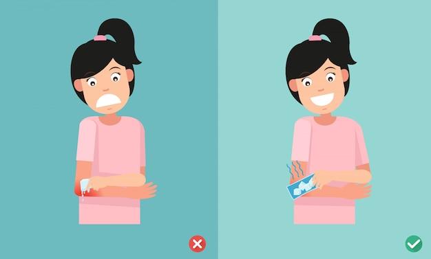 Неправильные и правильные способы оказания первой помощи при использовании холодных упаковок для получения травмы, иллюстрации