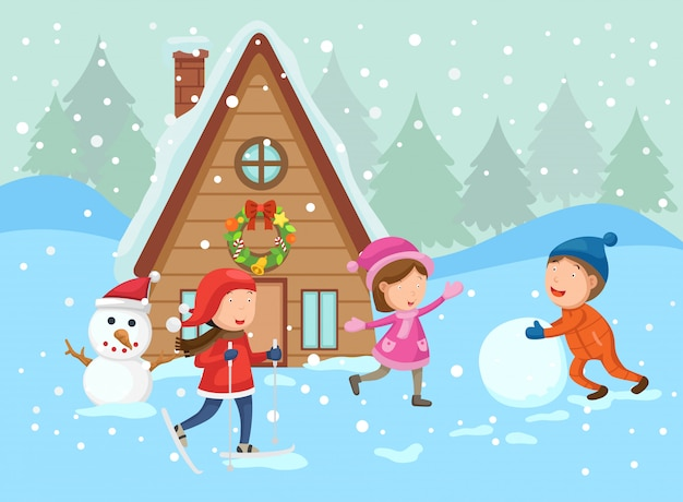 Иллюстрация счастливого рождества на зимний пейзаж