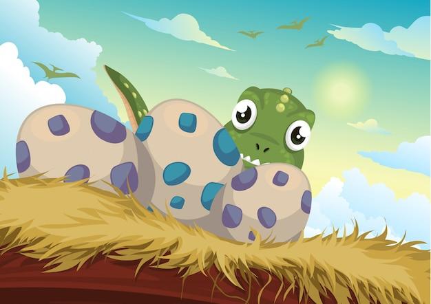 美しい漫画の恐竜と卵のイラスト