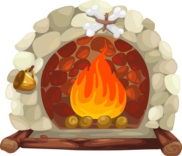 白い背景で隔離された暖炉のイラスト
