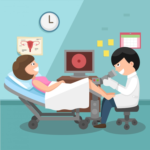 Врач, гинеколог, выполняющий физический осмотр