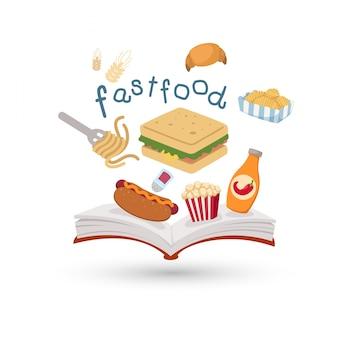 Открытая книга и иконки быстрого питания