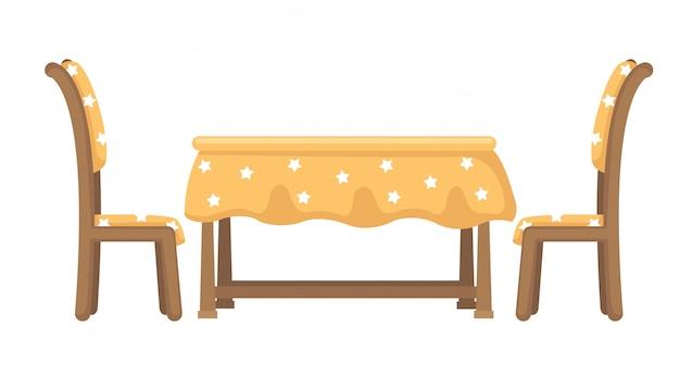 Стол и стулья вектор