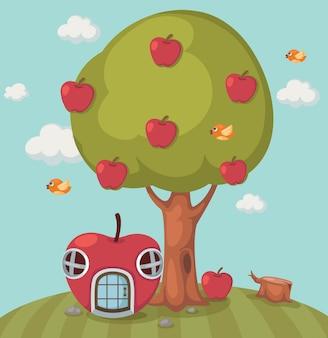 大きな木のリンゴとリンゴの家