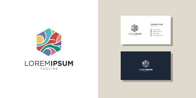 ロゴと名刺、カラフルな抽象的なシンボル