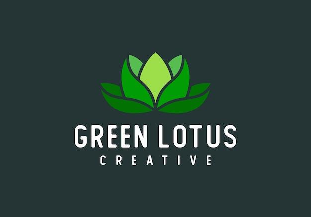 Зеленый лотос современный абстрактный логотип вектор