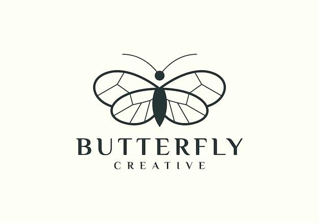 Элегантный контур бабочки с логотипом простой