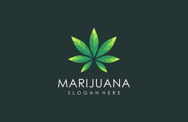 Логотип из листьев конопли