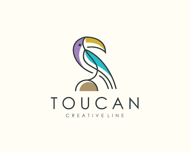 Логотип птица тукан, линия животных