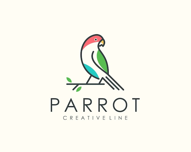 Логотип попугай, линия животных