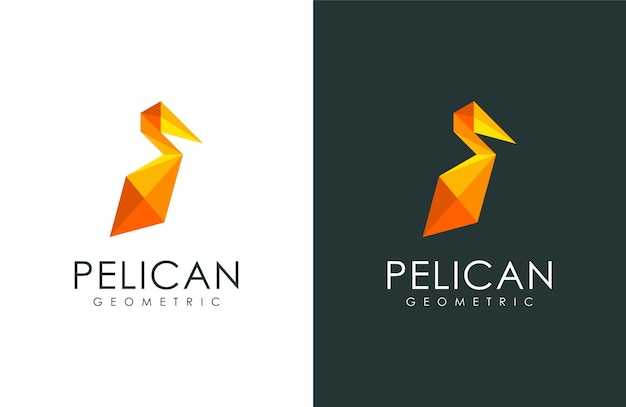 ペリカンのロゴ、モダンな幾何学的なスタイルの動物イラスト