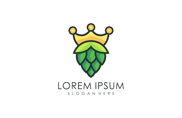 Естественный логотип пивоварения короны, натуральный зеленый лист логотип векторная иллюстрация