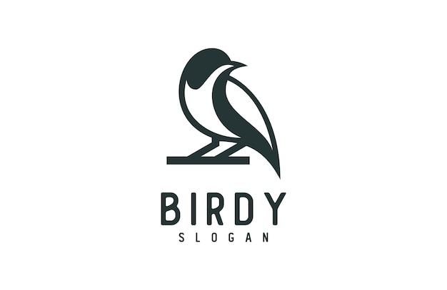 ユニークなシルエットの鳥のロゴ