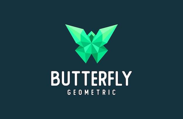 幾何学的な蝶のロゴ、モダンな抽象的な動物