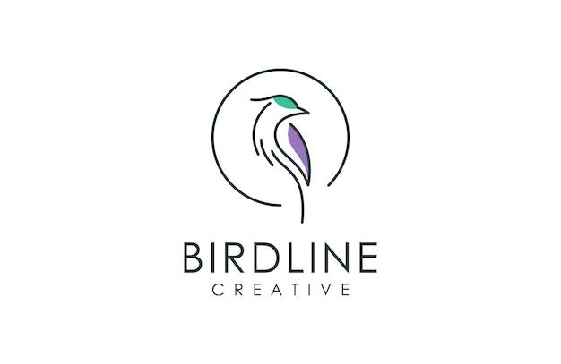 鳥ラインアートスタイルのロゴ